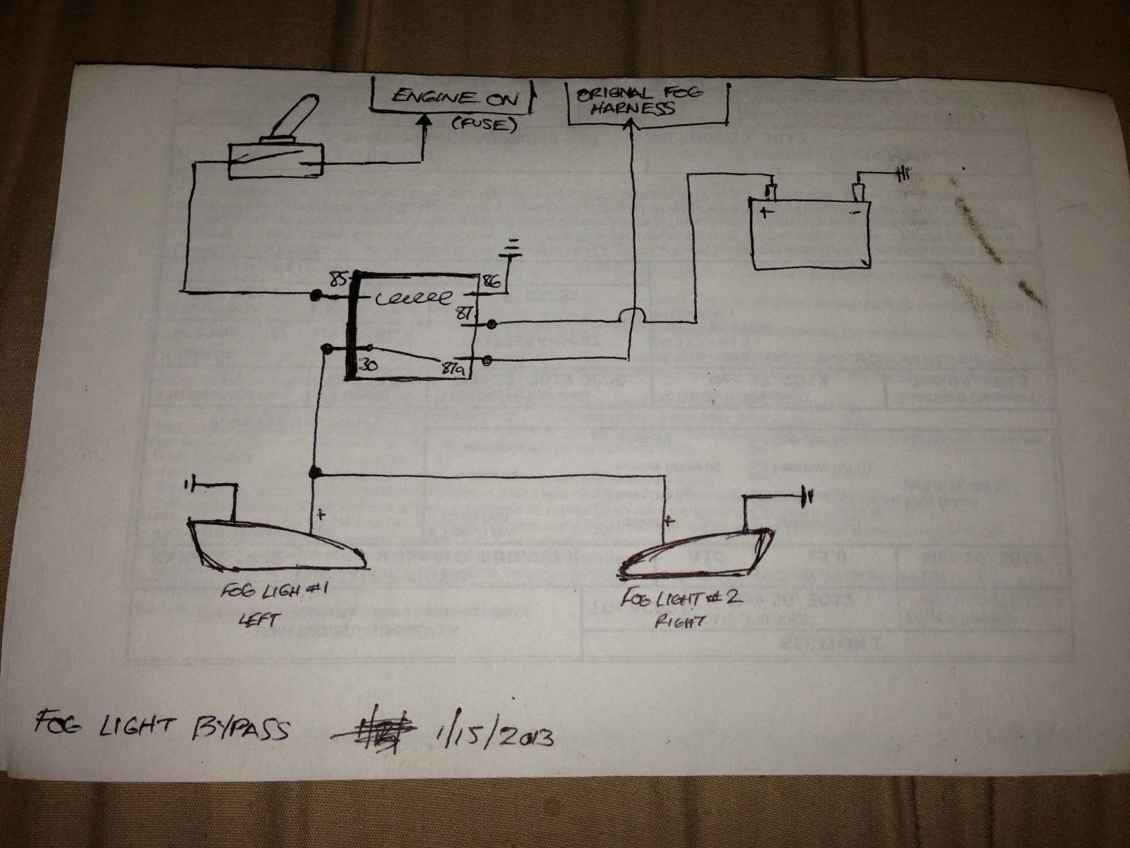 Fog Lights Wiring Diagram : Simple wiring diagram to bypass foglights works w o