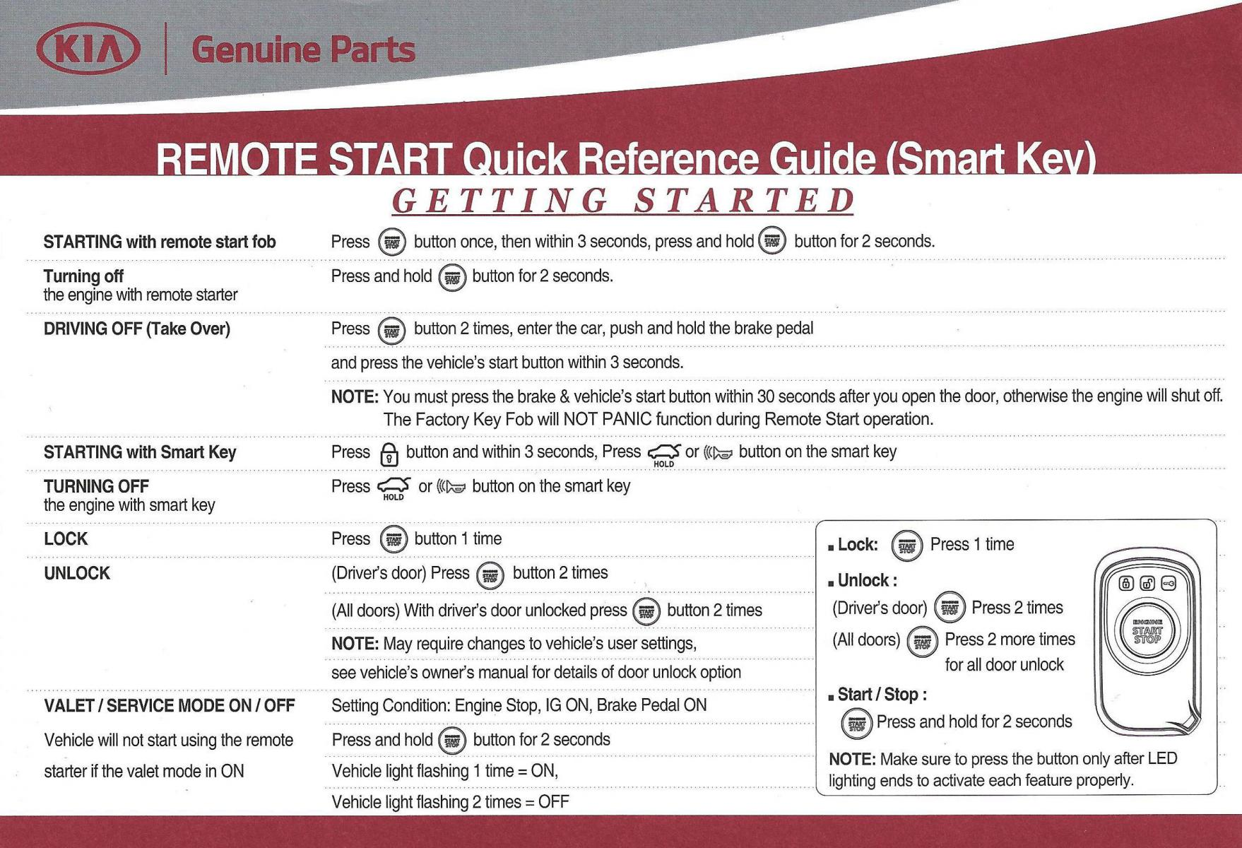 remote start instructions