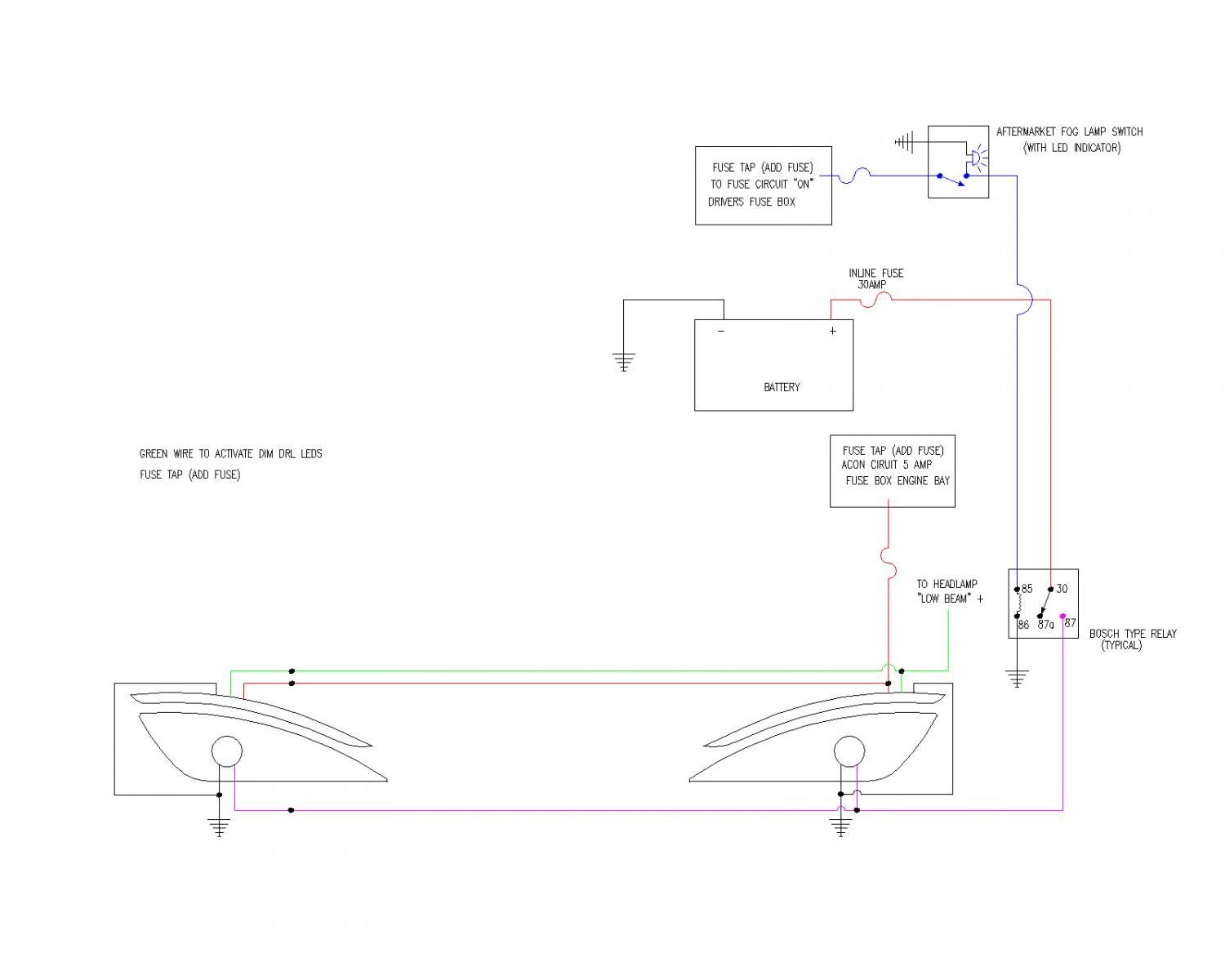 LX Custom Wiring Diagram for Non equipped FogDRL