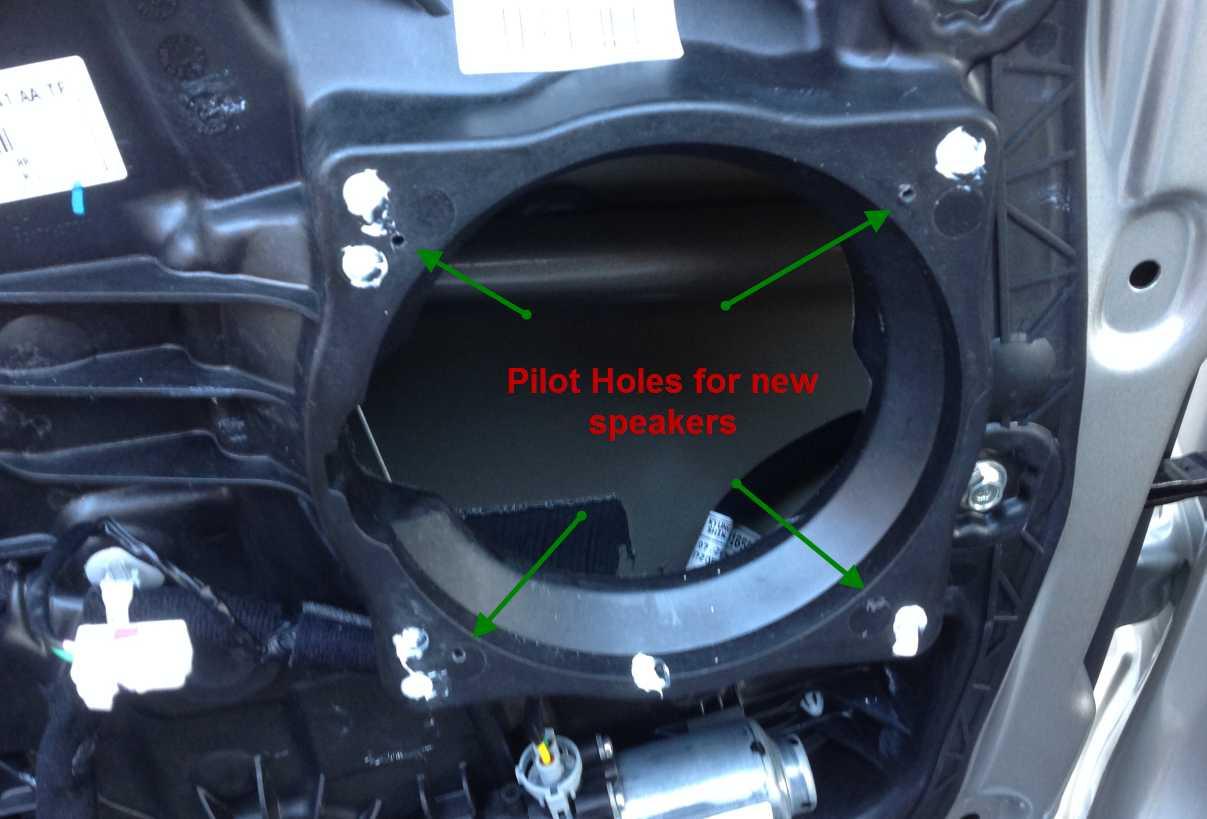 Replacing The Door Mounted Speakers Pilotholes Speakermounting Jpg