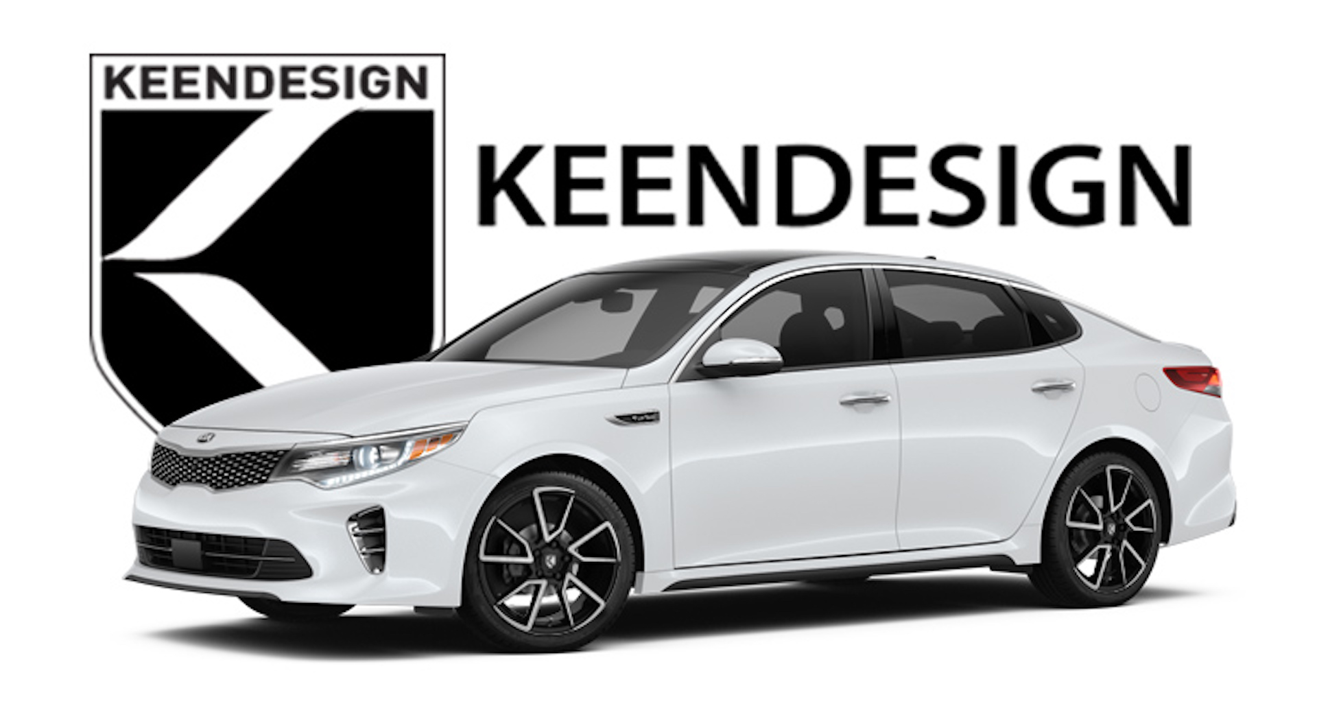 "Keen Design KD05 18"" wheel in machined black on 2017 Optima"
